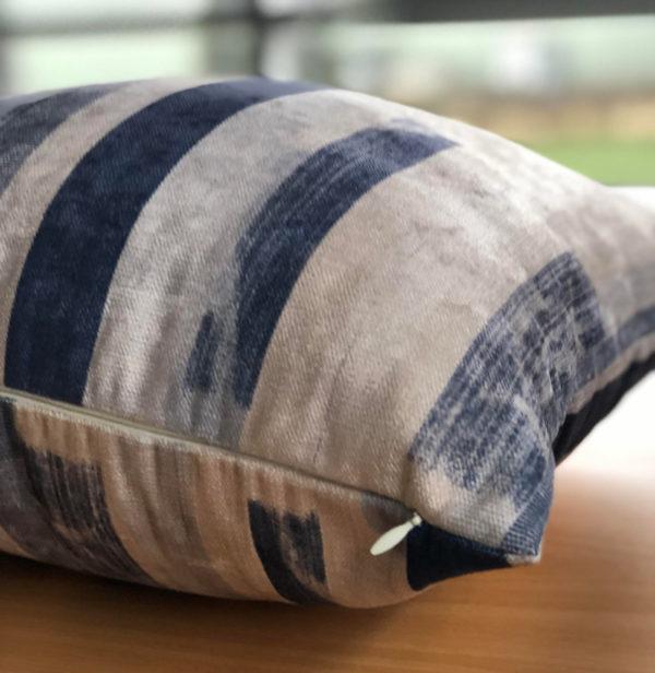 Blue and Ivory Brush Stroke Cushion