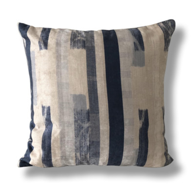 Blue and Ivory Brush Stroke Cushion