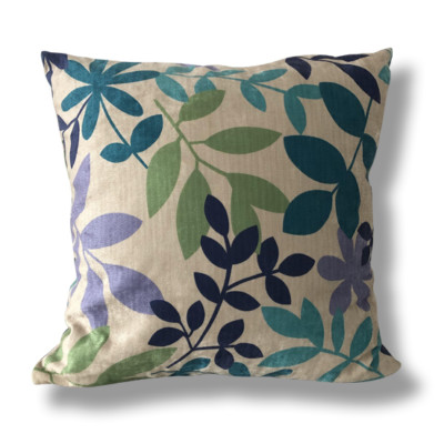 Blue, Teal and Ivory Flower Print Cushion
