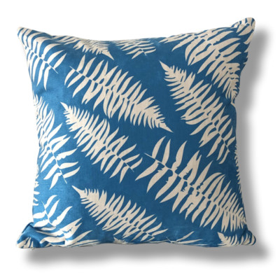 Bright Blue Leafy Cushion