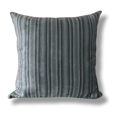 Dark Steel Colour Striped Cushion