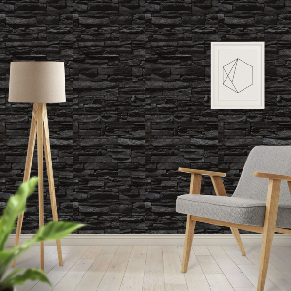 Black Brick Realistic Wallpaper
